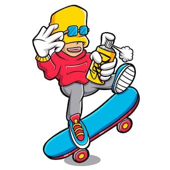 Крутые мальчики играют в мультяшный спрей и скейтборд