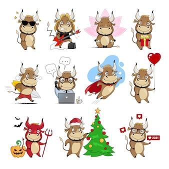 かっこいい雄牛。中国の旧正月のシンボルがセットされた牛。漫画イラスト