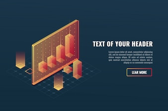 Cool business analytics concept, data visualization, 3d infographics