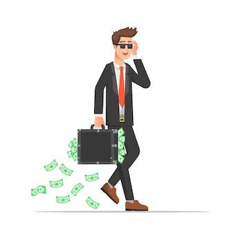 彼のスーツケースにたくさんのお金を運ぶクールなビジネスマン