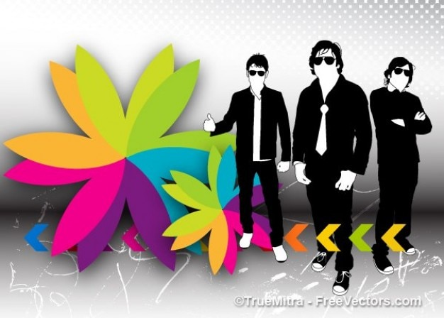 Cool businessmen silhouettes with colorful flower