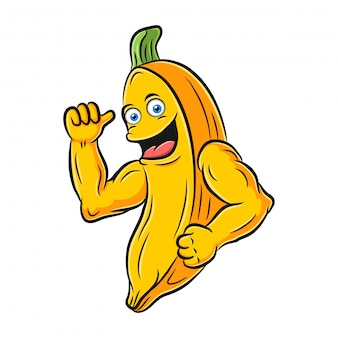 Cool cartoon bananas with muscles
