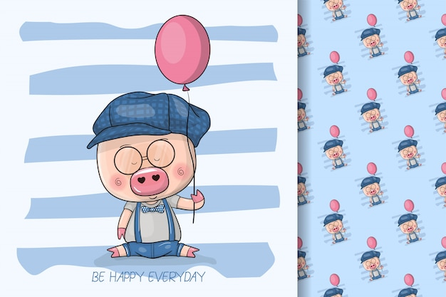 Cool cartoon cute pig with balloons for kids and seamless pattern