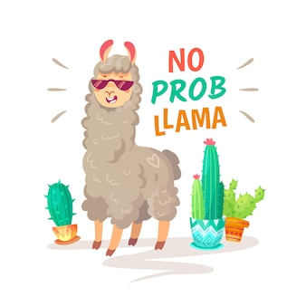 Cool cartoon doodle alpaca lettering quote with no prob llama.