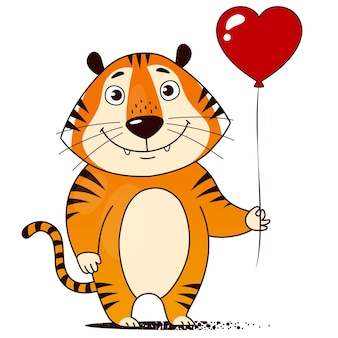 Cool cartoon tiger with red heart-shaped balloon. symbol of 2022. vector illustration.
