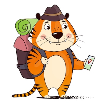 Cool cartoon tourist tiger with a backpack navigates with the smartphone