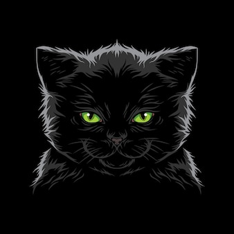 Cool cat face illustration vector