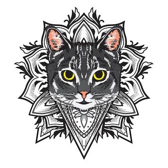 Cool cat flower mandala illustration