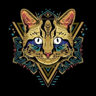 Крутой стиль иллюстрации геометрии кота на черном фоне