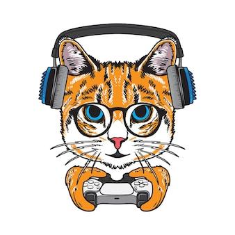 ゲームコントローラーのイラストを保持しているクールな猫