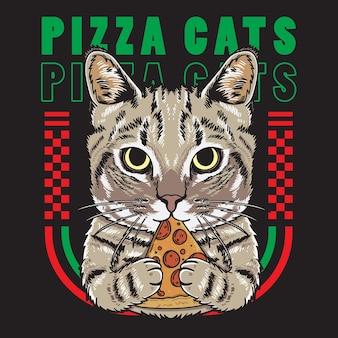 Прохладный кот держит пиццу иллюстрацию в плоском стиле