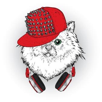 모자 그림에서 멋진 고양이