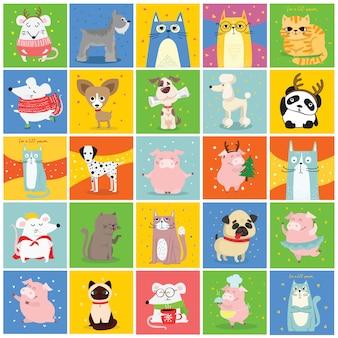 クールな猫、マウス、豚、犬のカード。トレンディなヒップスタースタイルのグリーティングカードデザイン、tシャツプリント、インスピレーションポスター。