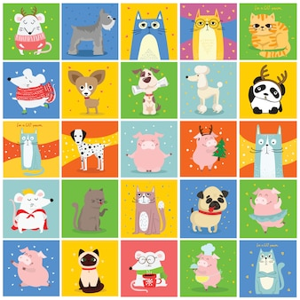 Cool cat, mouse, pig and dog cards.  trendy hipster style greeting cards design, t-shirt print, inspiration poster.