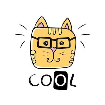 クールな猫のスローガンと顔の猫のベクトル。かわいい猫の顔の手描きとクールなサイン-ベクトルイラストデザイン-テキスタイルグラフィックtシャツプリント