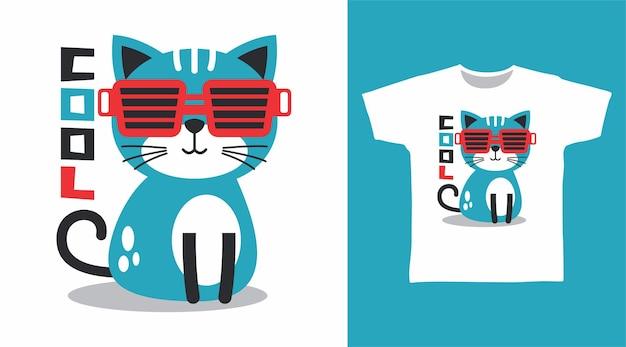 Tシャツのデザインのための赤いメガネとクールな猫