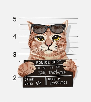 A cool cat with sunglasses holding mugshot sign illustration