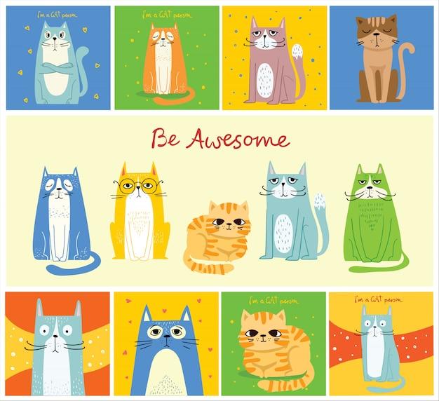 Крутые коты. вектор модный хипстерский стиль дизайна поздравительной открытки, футболка с принтом, вдохновляющий плакат в плоском дизайне