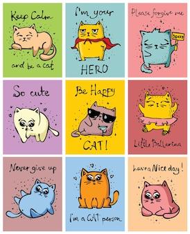 멋진 고양이들. 벡터 유행 스타일 인사말 카드 디자인, 티셔츠 인쇄, 영감 포스터.
