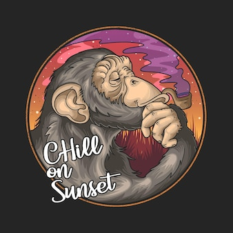 Cool chimpanzee cartoon smoking pipe on summer sunset background and chill on sunset lettering