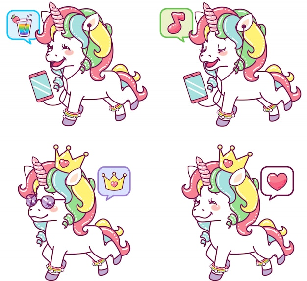 Cool colorful unicorns in different actions