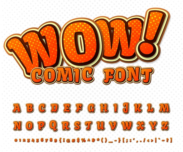 Cool comic font, kid's alphabet in style of comics book, pop art. multilayer funny orange letters and numbers