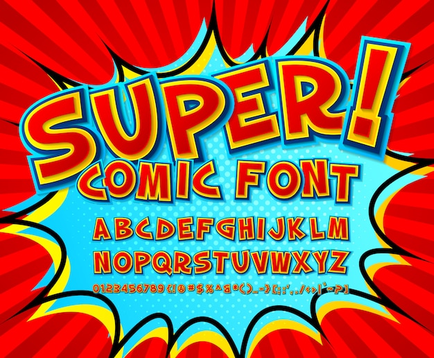 Cool comic font, kid's alphabet in style of comics book, pop art. multilayer funny red letters and numbers Premium Vector