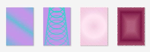 멋진 표지 템플릿 세트입니다. 하프톤 그라디언트가 있는 최소한의 최신 유행 벡터입니다. 전단지, 포스터, 브로셔 및 초대장을 위한 기하학적 멋진 표지 템플릿입니다. 최소한의 다채로운 모양입니다. 추상 그림입니다.