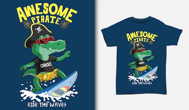 Cool crocodile surfing illustration with t-shirt design, hand drawn