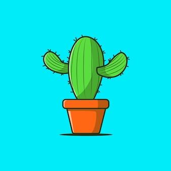 Cool cute cactus in pot vector flat illustration