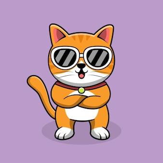 멋진 귀여운 고양이 선글라스를 착용