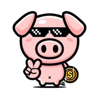 멋진 귀여운 돼지 디자인 동전을 들고