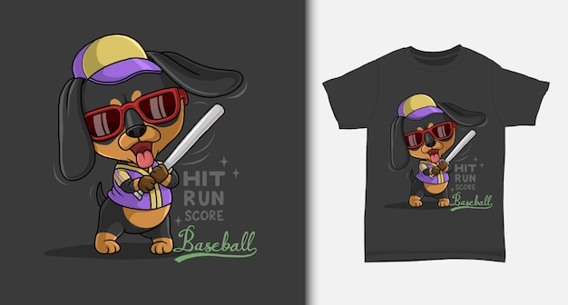 Cool dachshund playing baseball with tshirt design