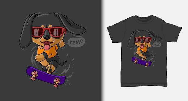 Cool dachshund playing skateboard with tshirt design