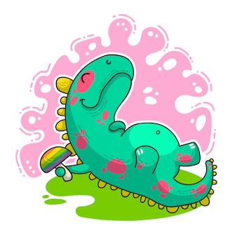 Cool dino doodle illustration