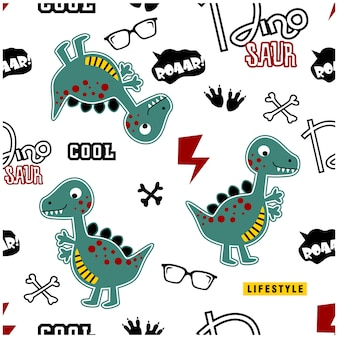 Cool dino seamless funny cartoon