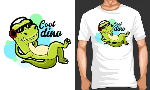 Cool dino with headphone cartoon illustration and merchandising design