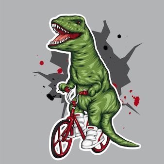 Cool dinosaur on a bike.