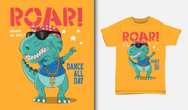 Cool dinosaur dabbing illustration with t-shirt design, hand drawn