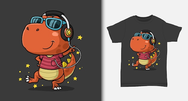 Cool dinosaur dancing with tshirt design