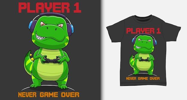 Крутой геймер-динозавр с дизайном футболки
