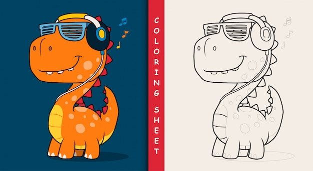 Cool dinosaur listening music with headphones. coloring sheet.