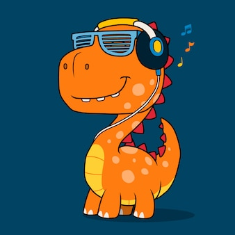 Cool dinosaur listening music with headphones