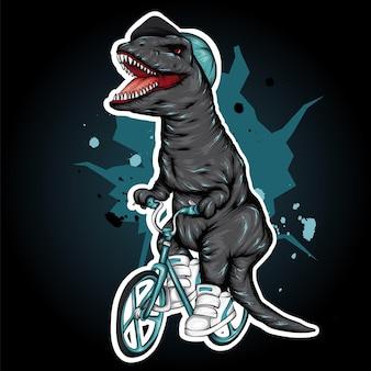 Крутой динозавр на байке.
