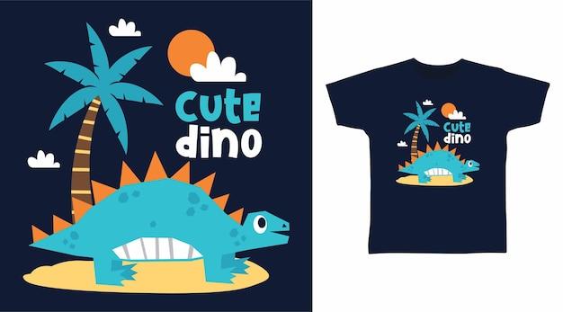 Прохладный динозавр на пляже дизайн футболки с принтом