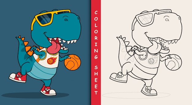 Cool dinosaur playing basketball. coloring sheet.