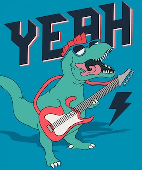 Cool dinosaur playing guitar