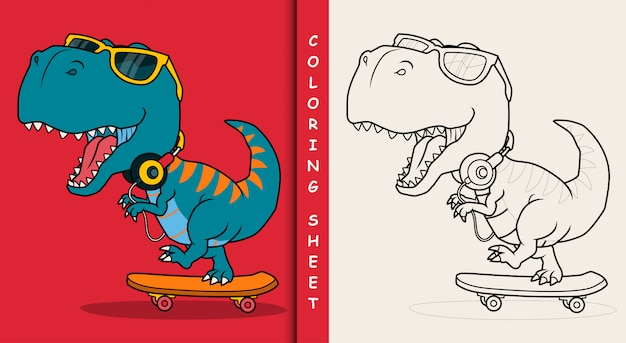Cool dinosaur playing skateboard. coloring sheet.