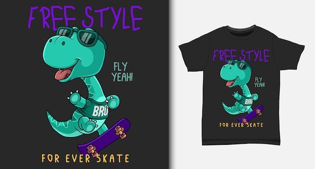 Крутой динозавр, играющий на скейтборде. с дизайном футболки.