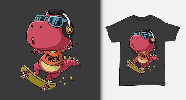 Tシャツのデザインでスケートボードをプレイするクールな恐竜